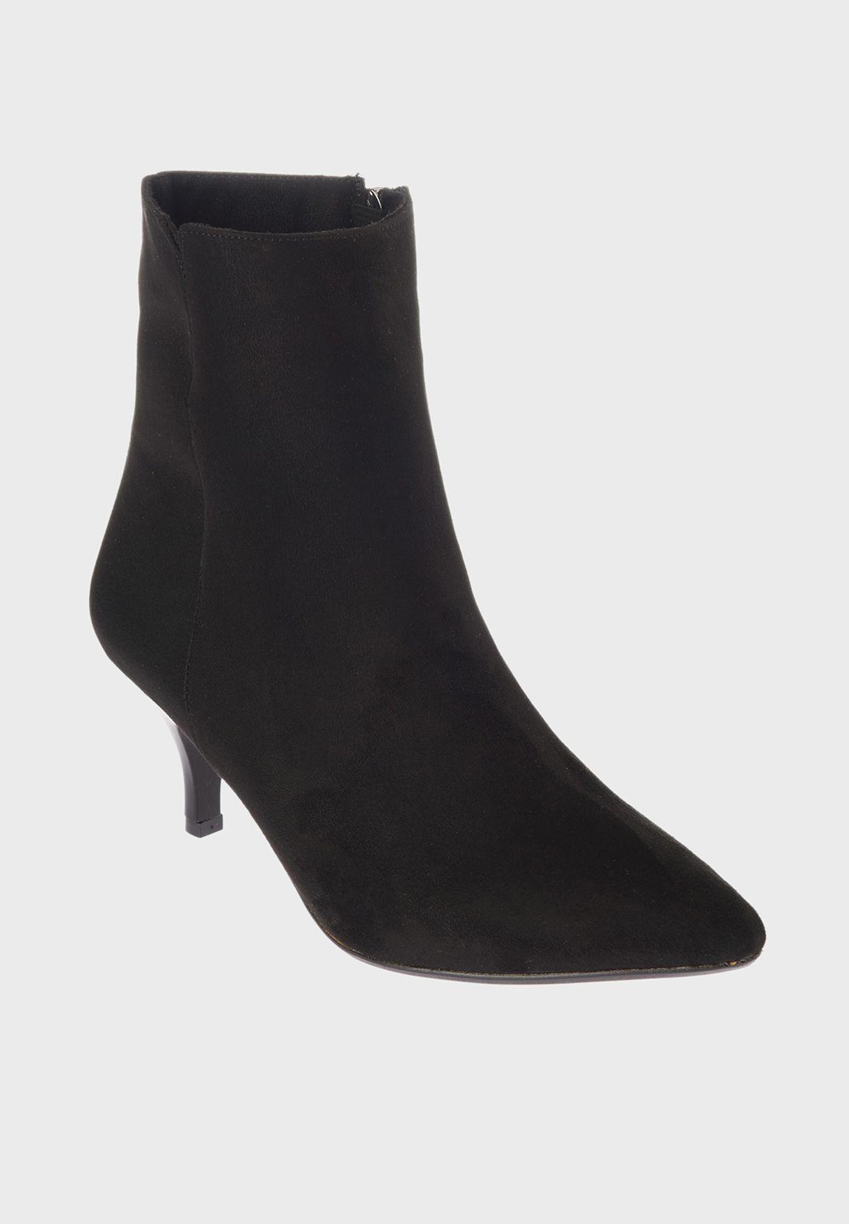 Suede Zip Through Mid  Heel Boot