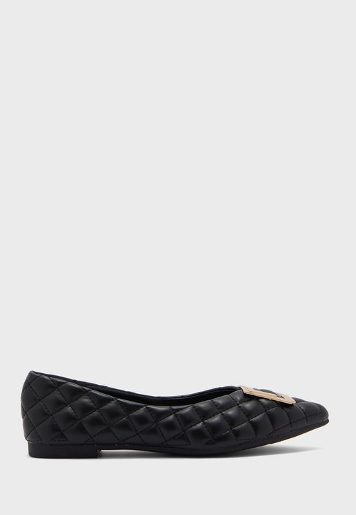 Quilted Pointed Flat Shoe With Buckle