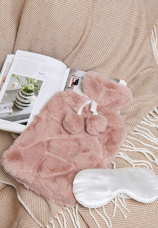 Hot Water Bottle and Eye Mask Set