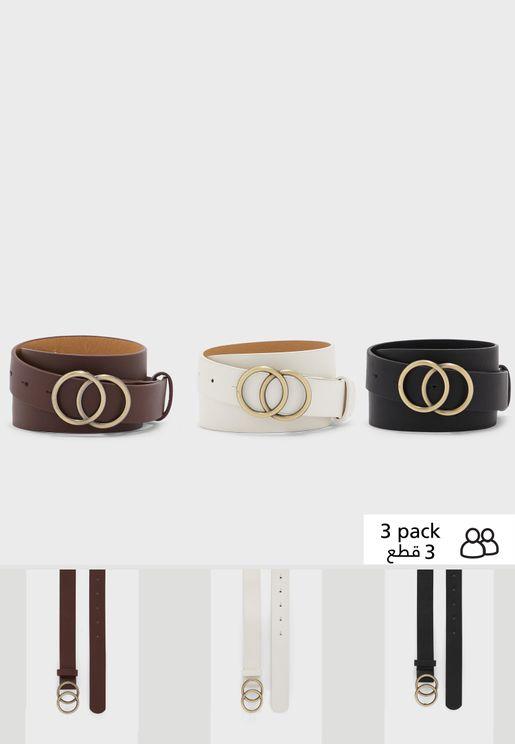 حزام بابزيم بشكل دائرتين (عدد 3)