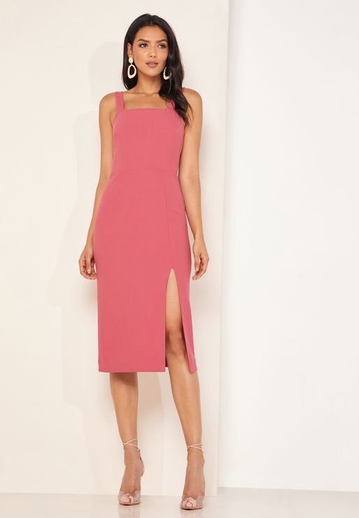 Palermo Front Split Square Neck Dress