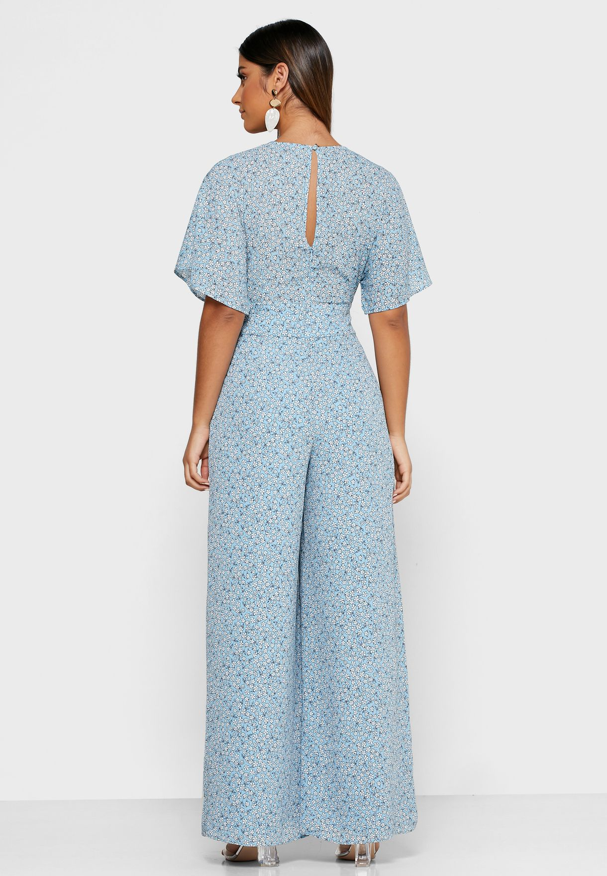 Buy Finders Keepers Prints Blossom Tie Waist Angel Sleeve Plunge Jumpsuit For Women, Uae 12264at86vup