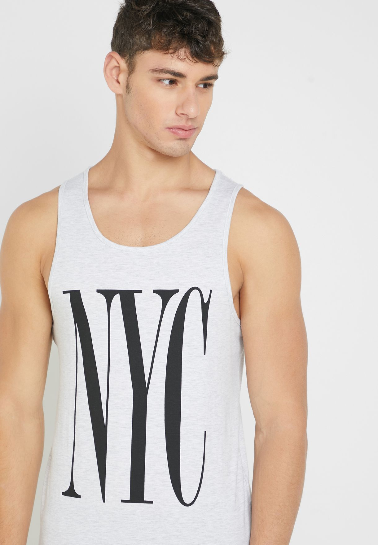 8c4d1ef0 Shop Cotton On grey NYC Sleeveless Crew Neck T-Shirt 361190-144 for ...