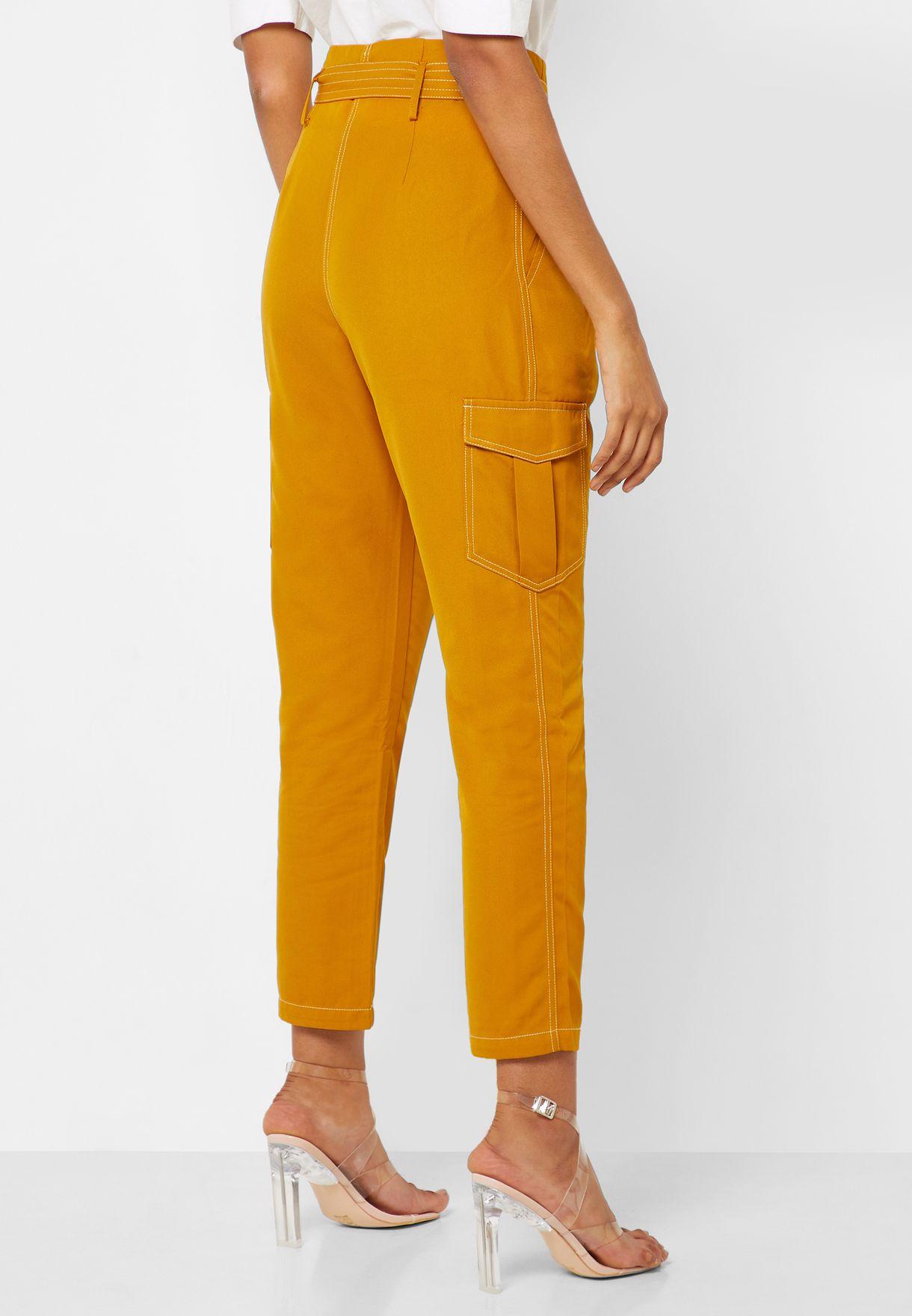 Paperbag Waist Seam Detail Pants