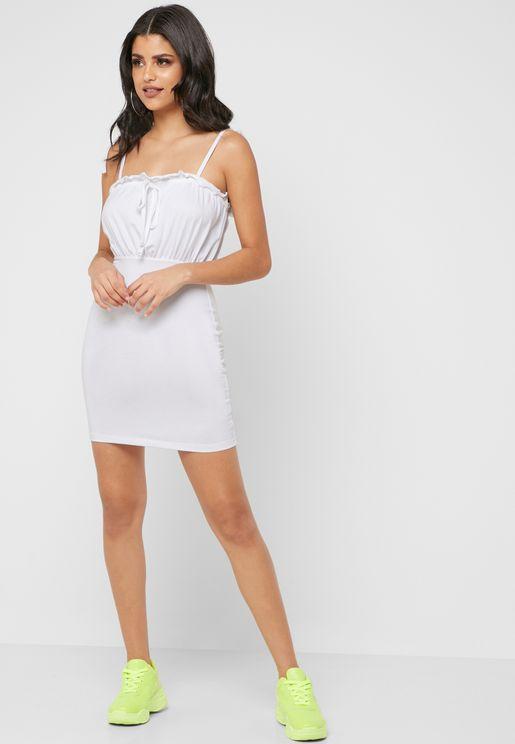2e7409e7e90 Tie Strap Frill Mini Dress
