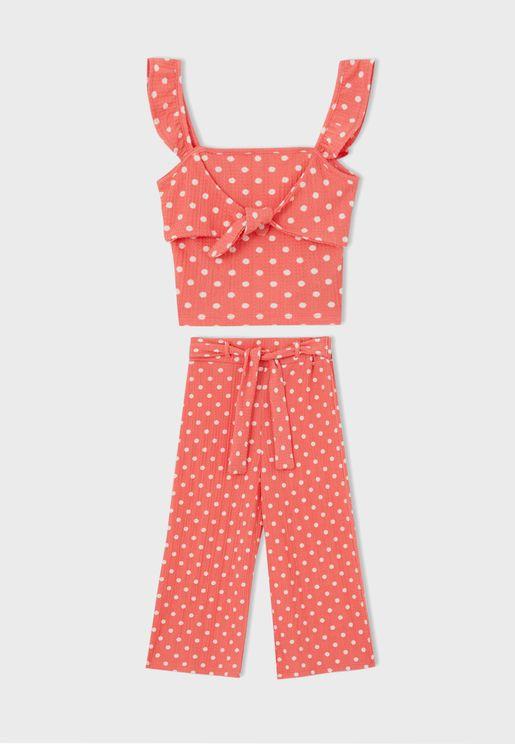 Kids Dot Print Top + Trousers Set