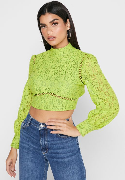 High Neck Lace Trim Cropped Top