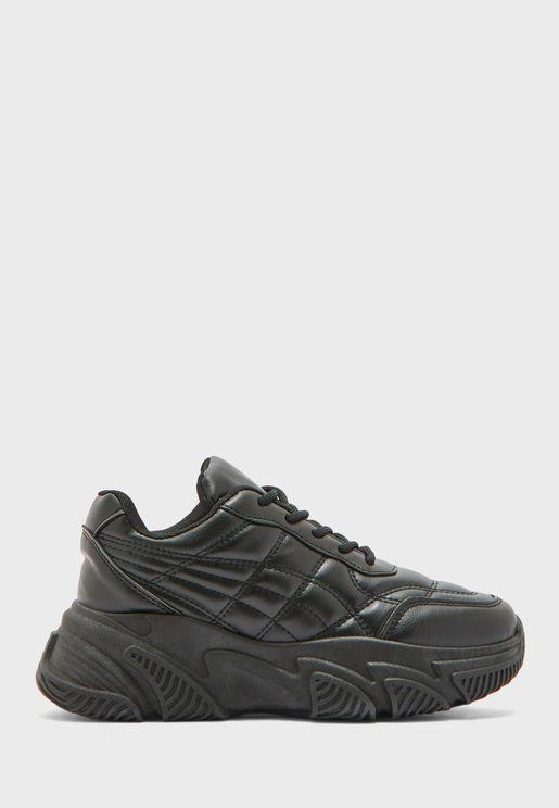 Side Stitch Monotone Sneakers