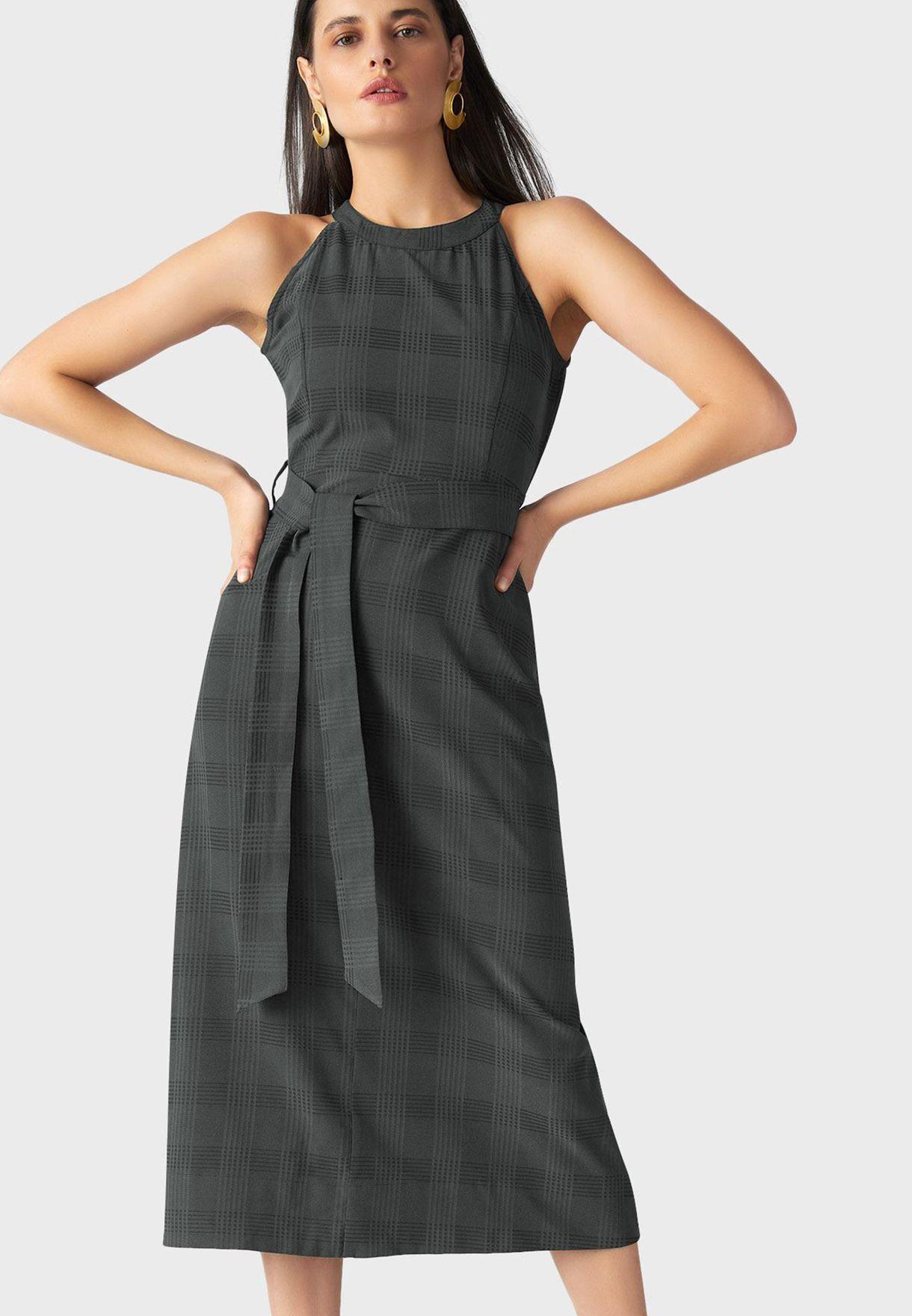 High Neck Tie Waist Checked Dress