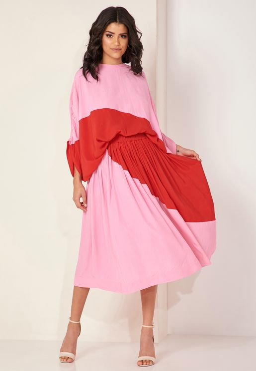 Sweetener Colourblock Pleated Midi Skirt