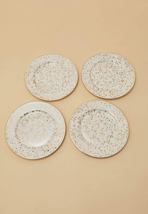 4-Piece Gold Patterned Tea Plates