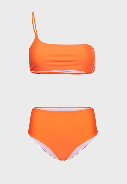 One Shoulder High Waist Bikini Set