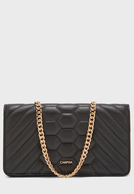محفظة بحمالة ذهبية