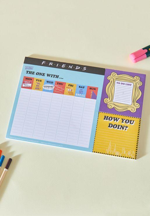 دفتر تخطيط اسبوعي بطبعات مستوحاة من فرندز