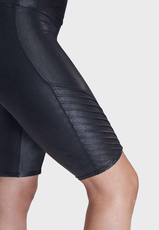 Faux Leather Moto Bike Short