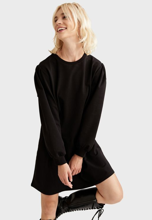 Balloon Sleeve Sweat Dress