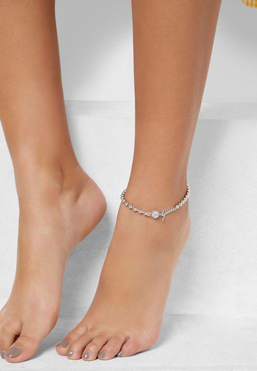 Logo Pave & Plain Beads Anklet