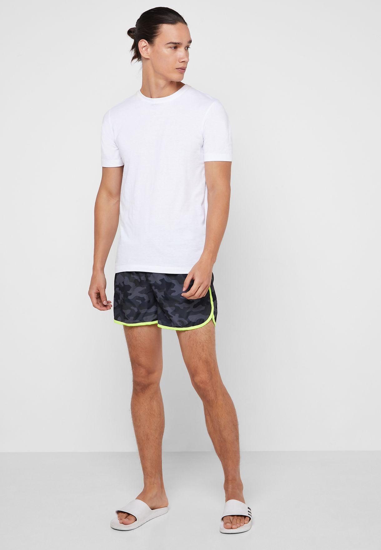 Contrast Camo Printed Swimshort
