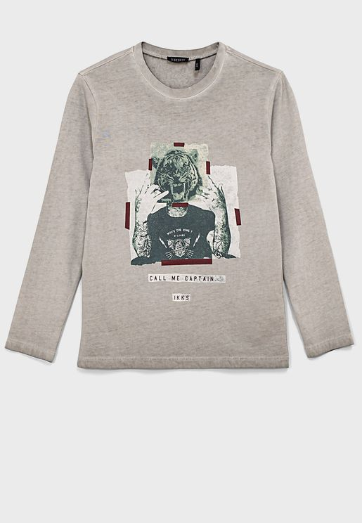 Mottled Grey T-Shirt With Round Neck And Long Slee