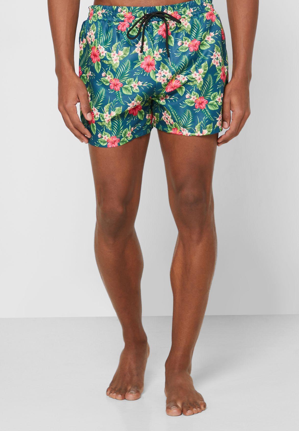 شورت سباحة بطباعة زهور