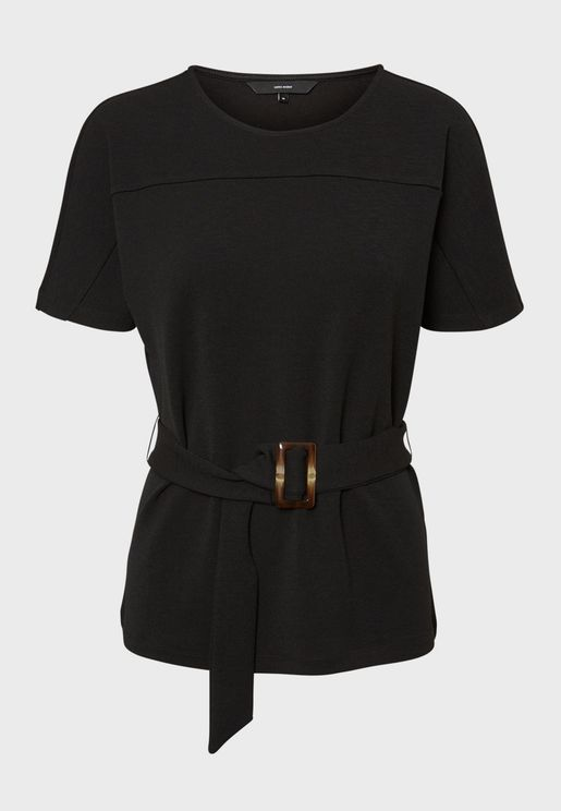 Belted Buckle Detail Top