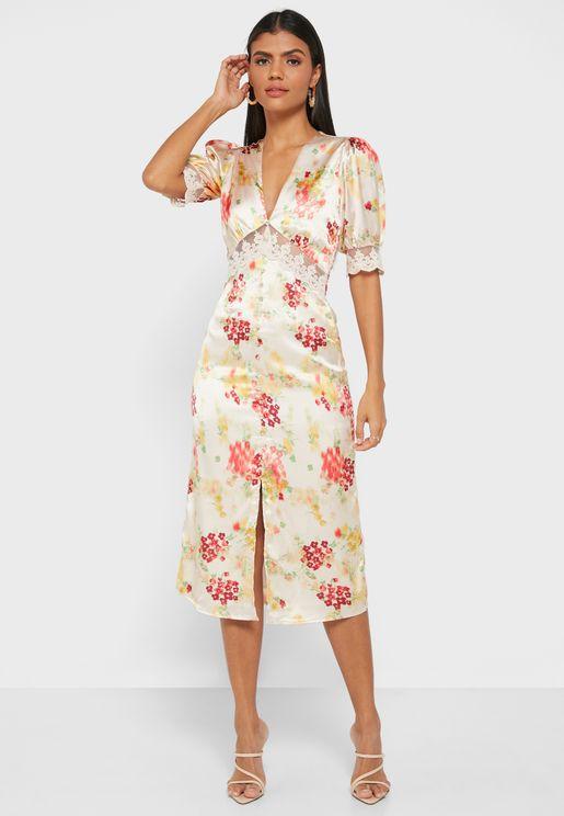 Mabel Floral Print Plunge Dress