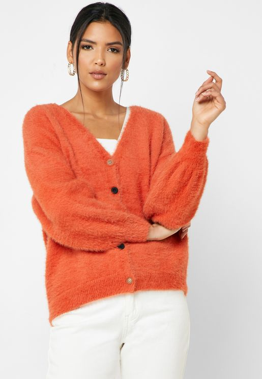 Balloon Sleeve Oversized Cardigan