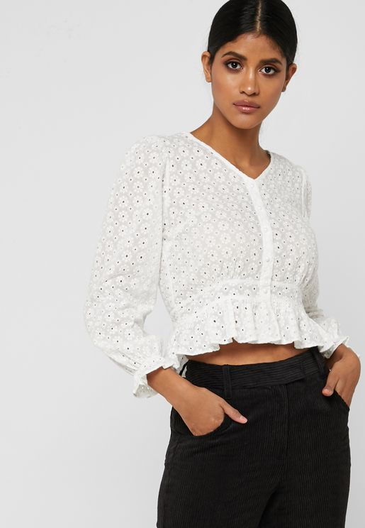 Embroidered Lace Ruffle Trim Shirt