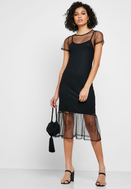 Short Sleeve Mesh Dress