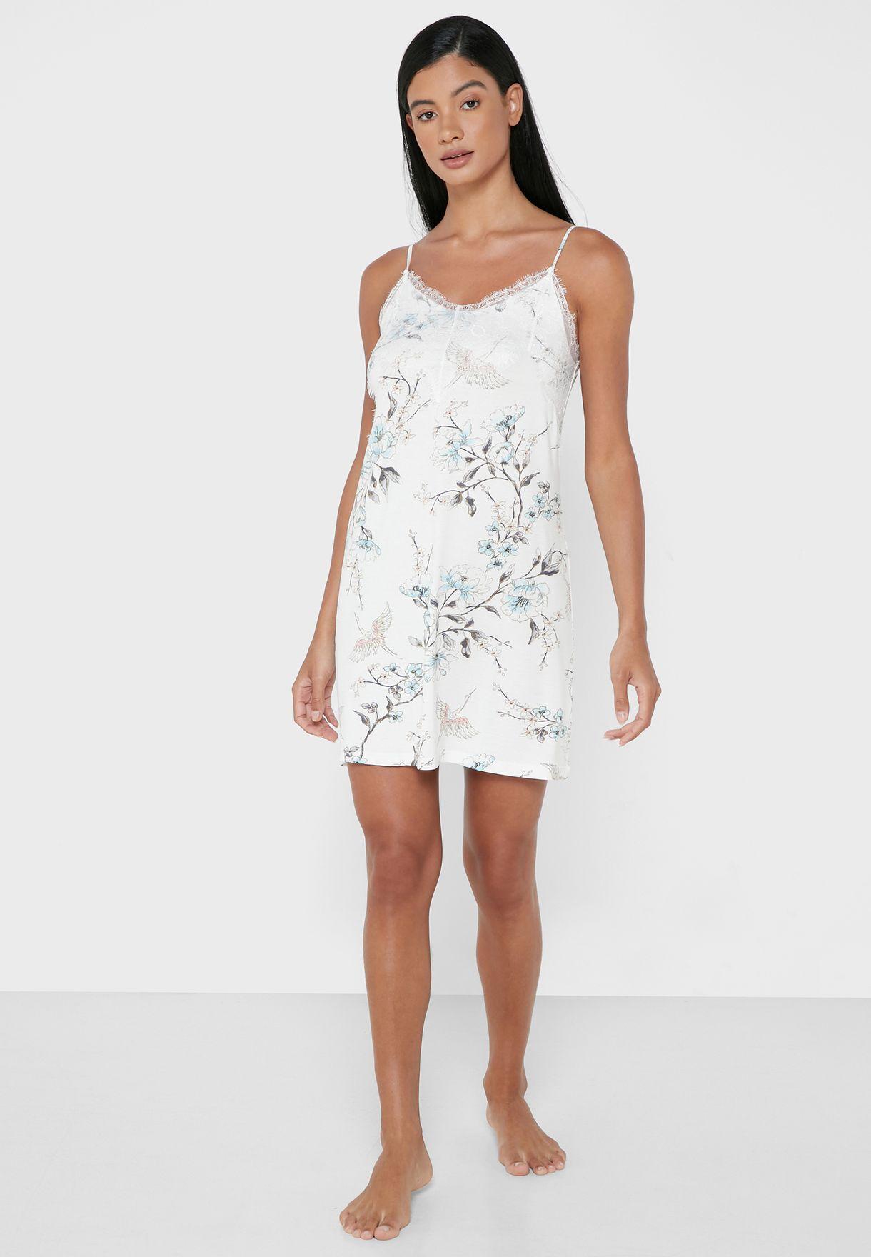 Lace Trim Printed Nightdress
