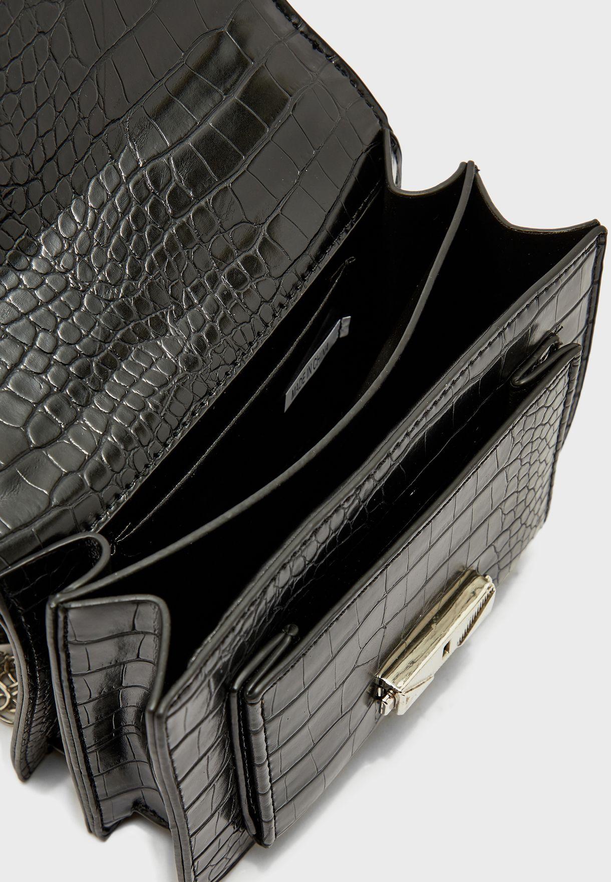 Croc Handbag with Woven Chain Handle