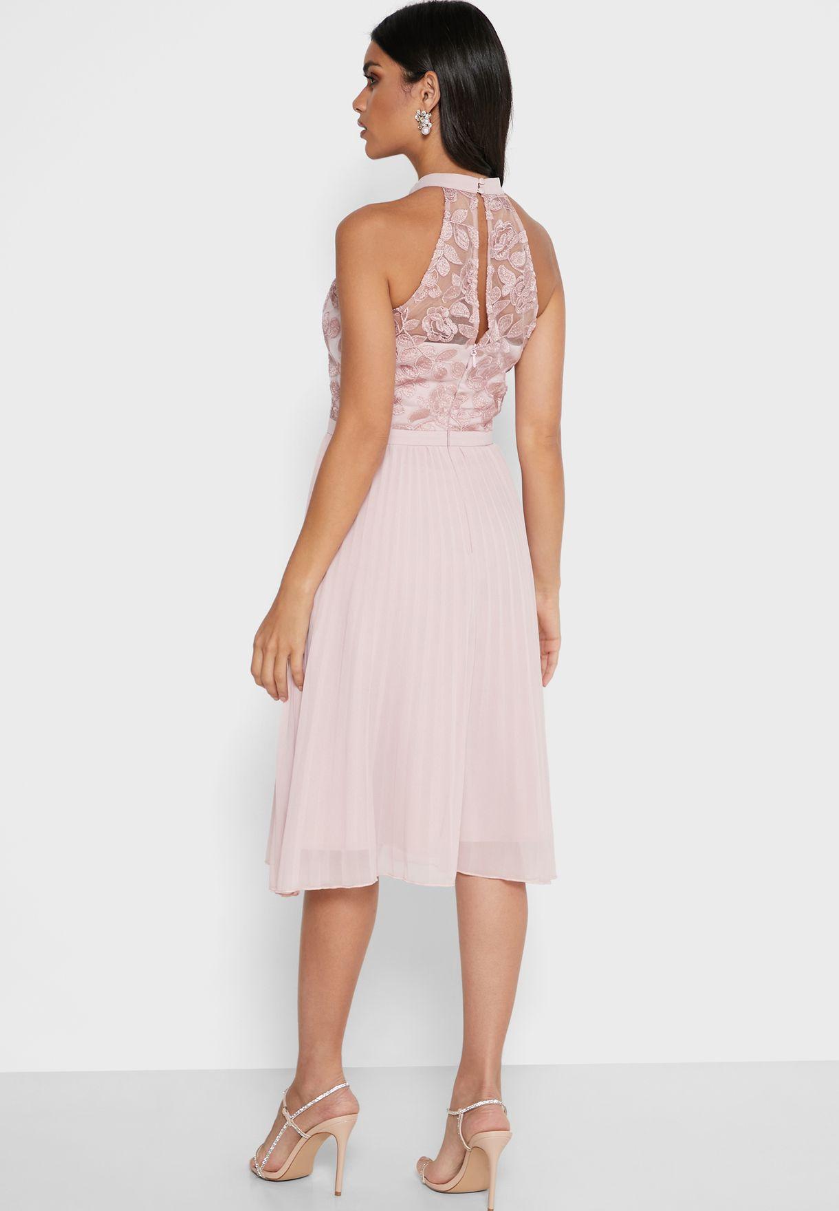 High Neck Mesh Trim Pleated Dress