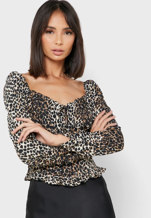 Animal Print  Ruched Detail Top