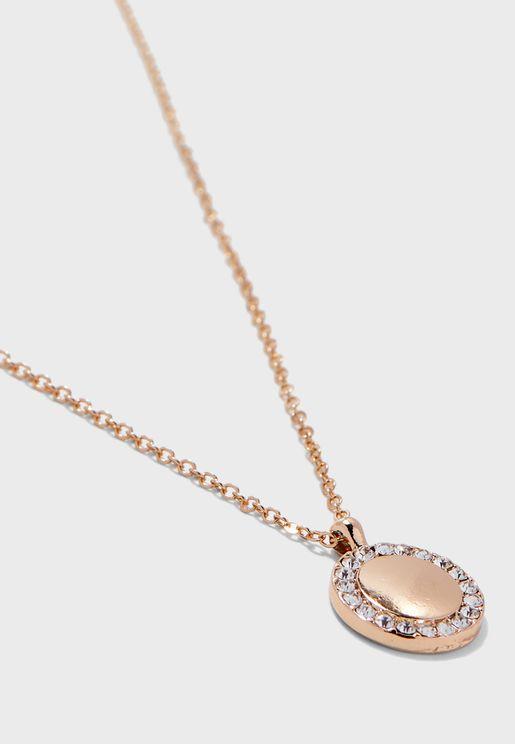 Sparkle Disc Pendant Necklace