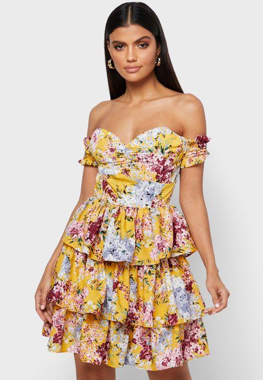 فستان بلا اكمام بطبعات ازهار