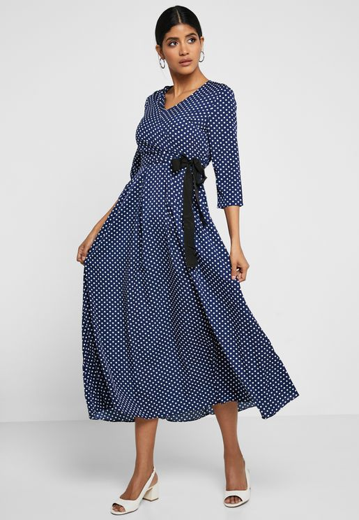 Polka Dot Wrap Front Box Pleat Midi Dress