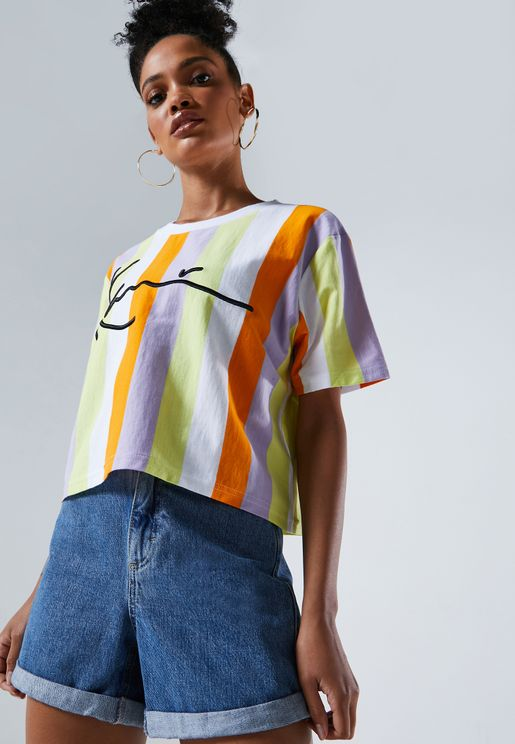 Signature Striped Cropped T-Shirt