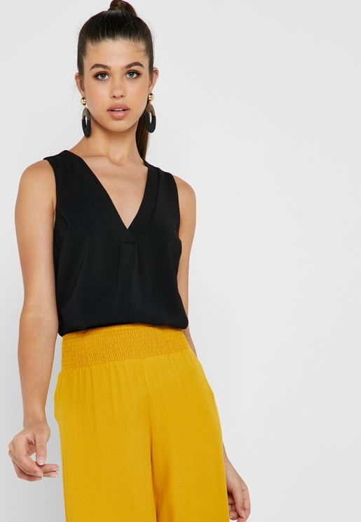 V-Neck Front Pleat Top