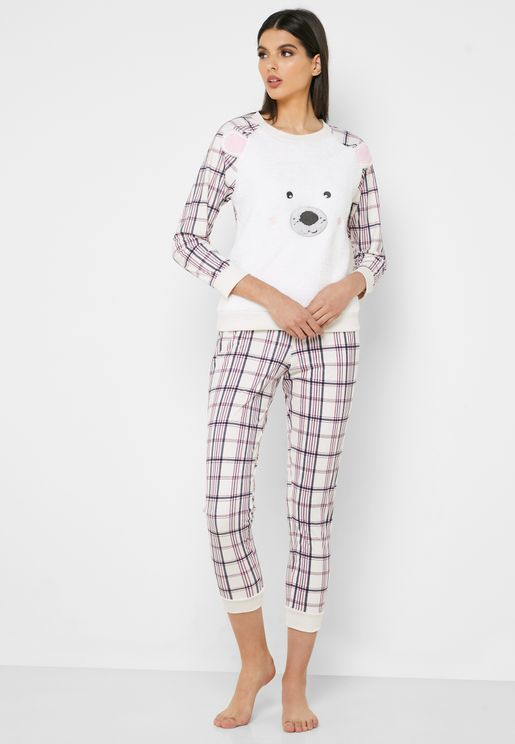 Graphic T-Shirt & Checked Pyjama Set