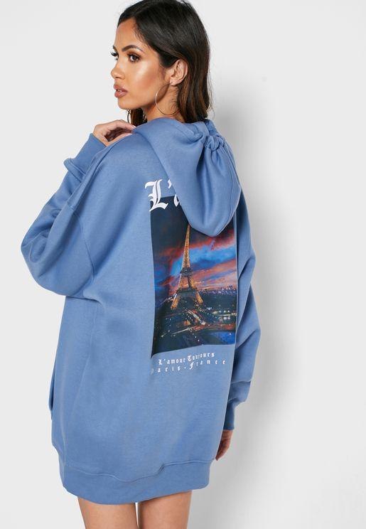 فستان بطبعة جرافيك