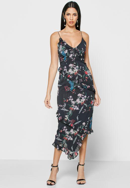 Asymmetric Ruffle Detail Cami Dress