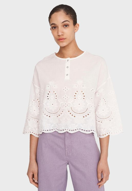 Broderie Poncho Top