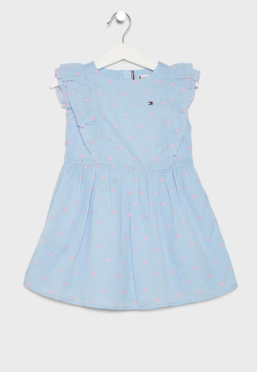 Kids Ruffle Dot Print Dress