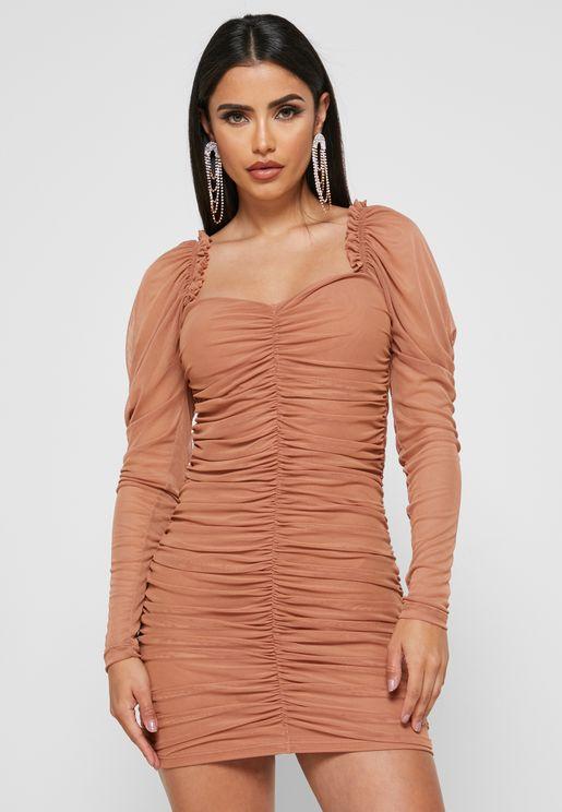 Mesh Detail Ruched Dress