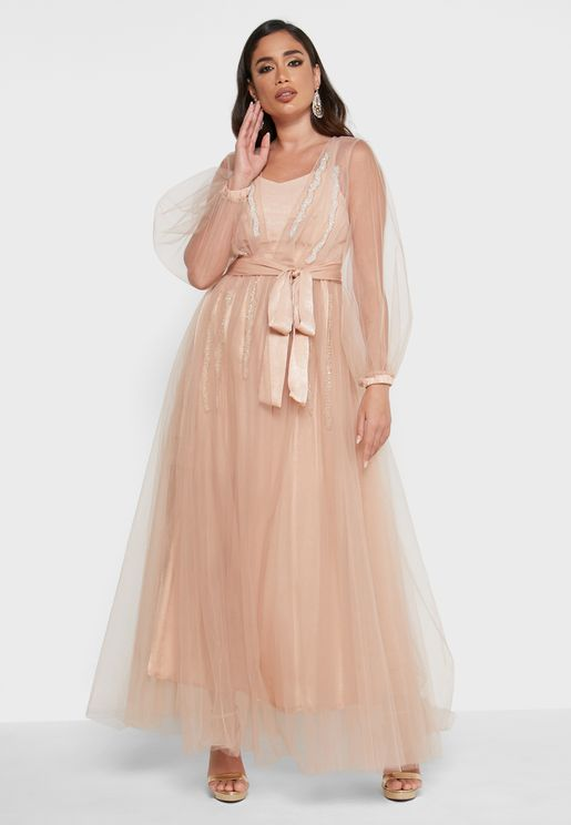 Embellished Mesh Detail Dress