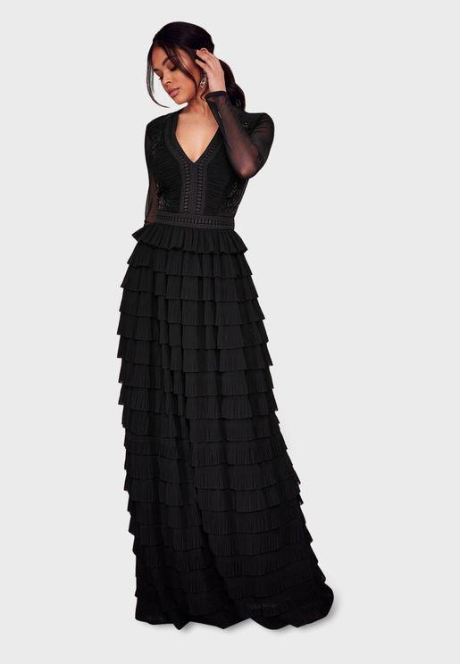 Layered Mesh Sleeve Dress