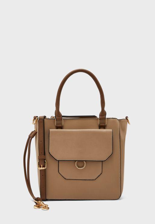 Front Pocket Structured Tote Bag