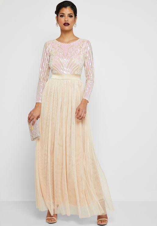Embellished Top Maxi Dress