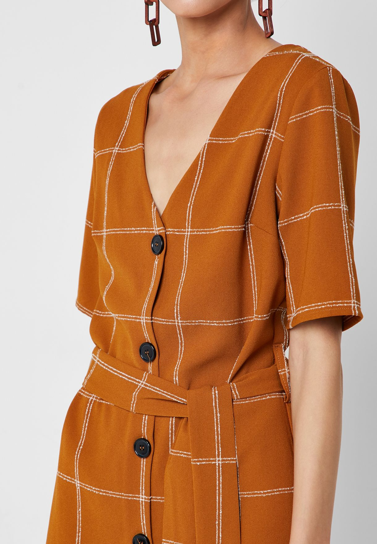 Checked Button Down Dress