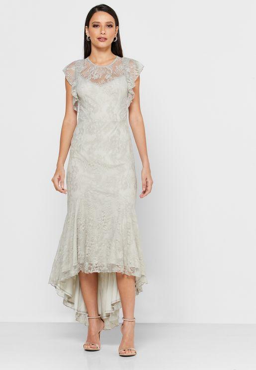 Ruffle Detail Fishtail Dress